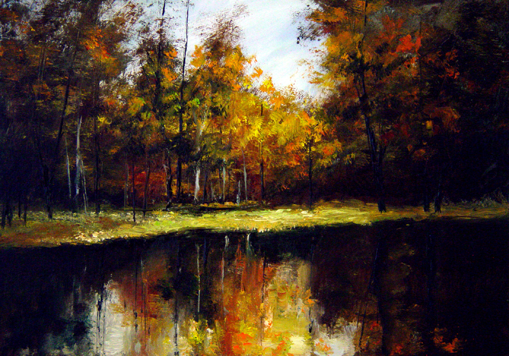 """A Lake in the Fall"" original fine art by Bob Kimball"