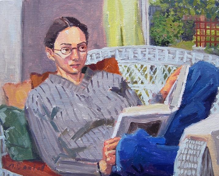 """Sara Marina Reading"" original fine art by Andrew Daniel"