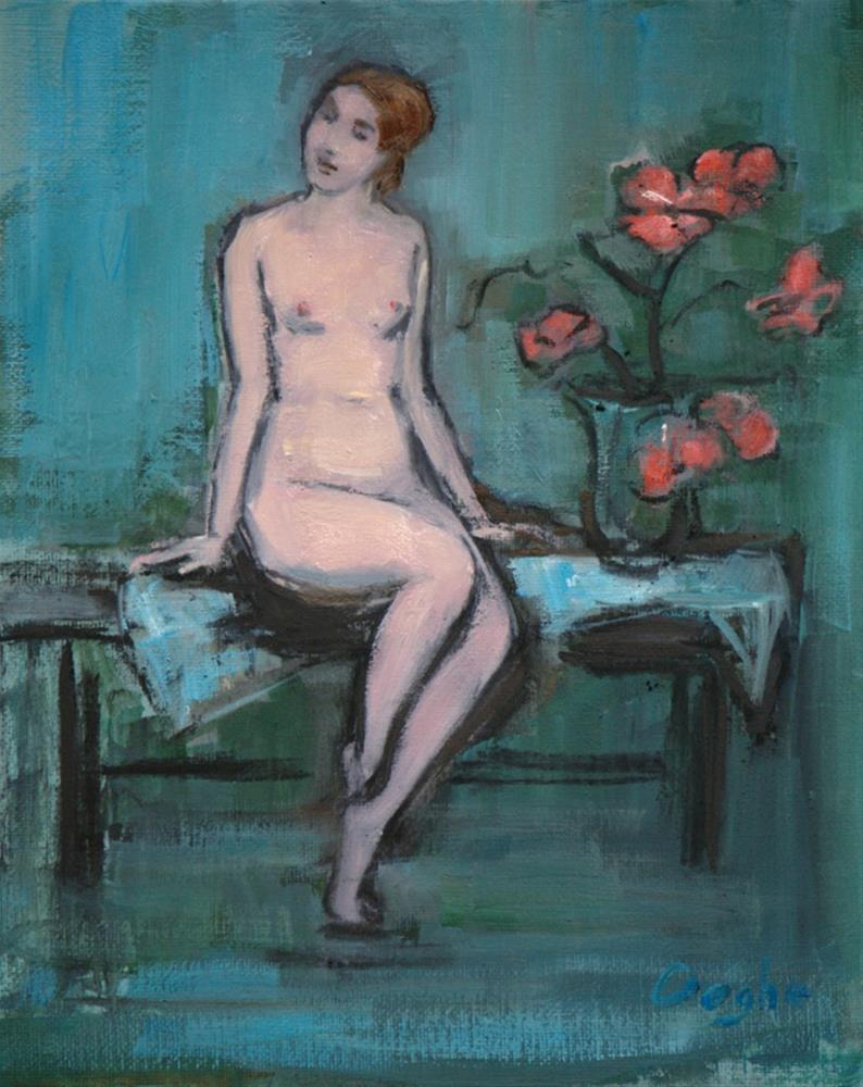 """Nude Sitting Beside a Vase of Flowers"" original fine art by Angela Ooghe"