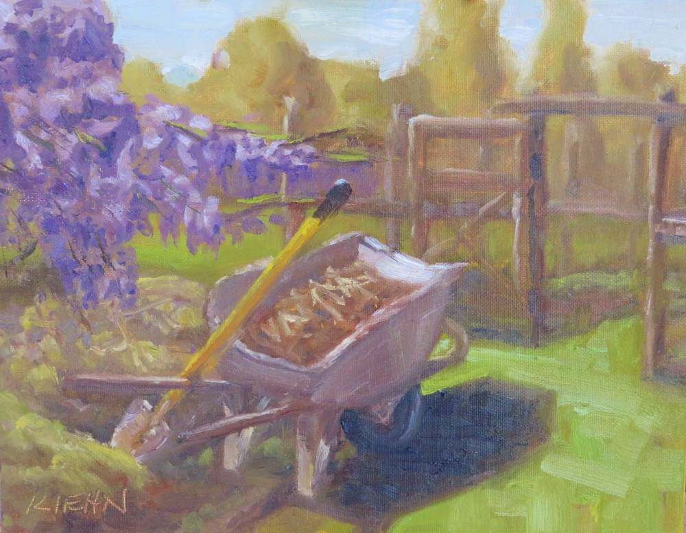 """Moving Compost to the Garden"" original fine art by Richard Kiehn"