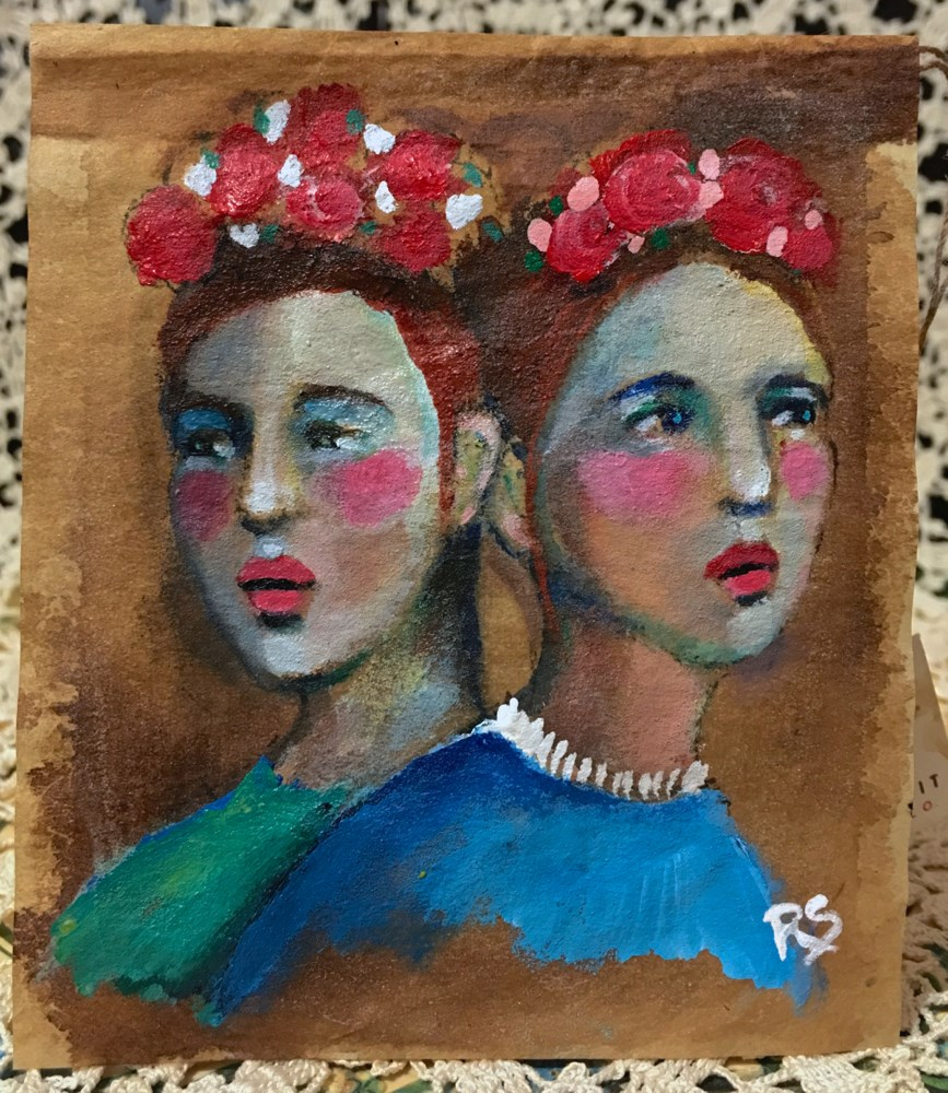 """Tea Bag Portrait - Twins"" original fine art by Roberta Schmidt"