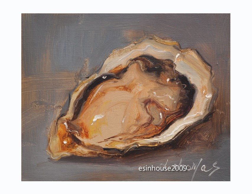 """8x10""Delicious sea animals shell OYSTER canvas Painting The art"" original fine art by Thomas Xie"