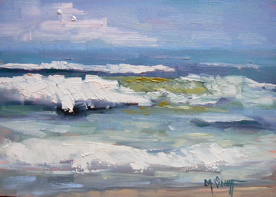 """SURF IS UP!, 5x7, OIL"" original fine art by Carol Schiff"