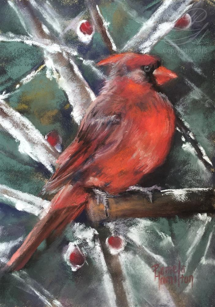 """Winter Cardinal"" original fine art by Pamela Hamilton"
