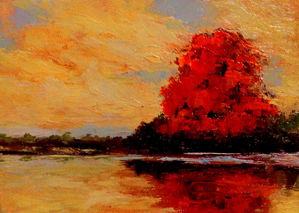 """The Big Red Tree by the Lake"" original fine art by Bob Kimball"
