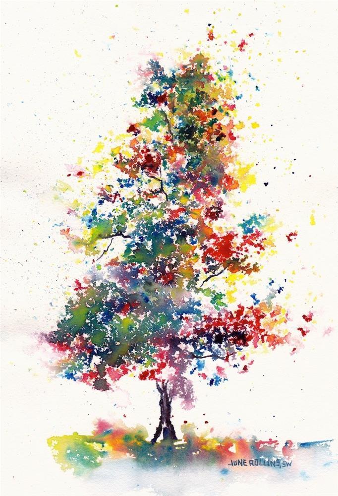 """Standing Tall Today Triad Tree"" original fine art by June Rollins"
