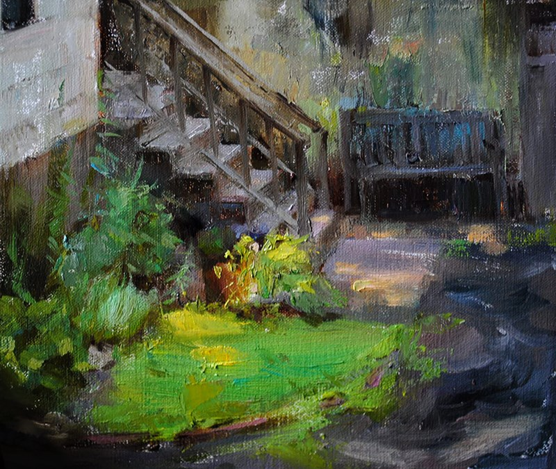 """backyard"" original fine art by Taisia Kuklina"