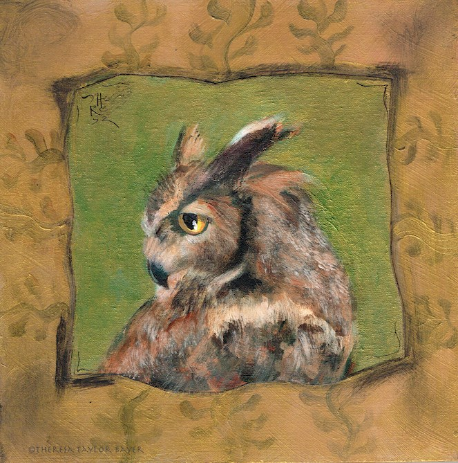 """Owl Alone - Theresa Taylor Bayer"" original fine art by Theresa Taylor Bayer"