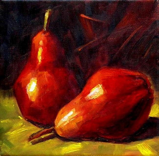 """Red Pears"" original fine art by Irina Beskina"