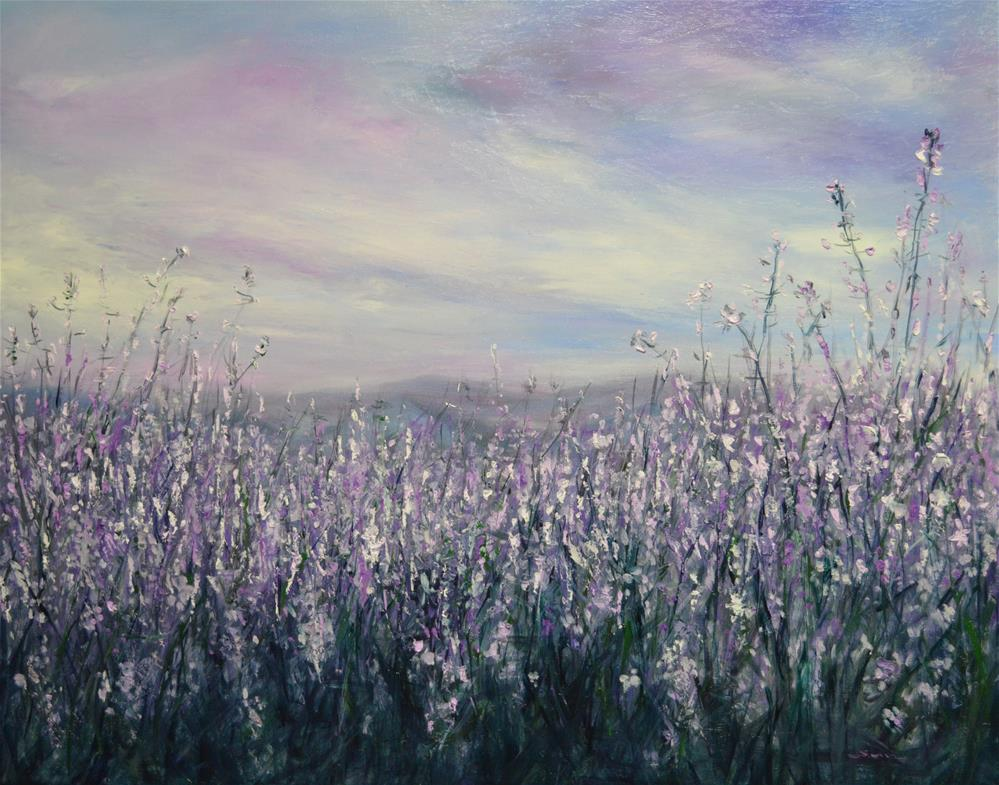 """purple sky and purple wild flower"" original fine art by Sun Sohovich"