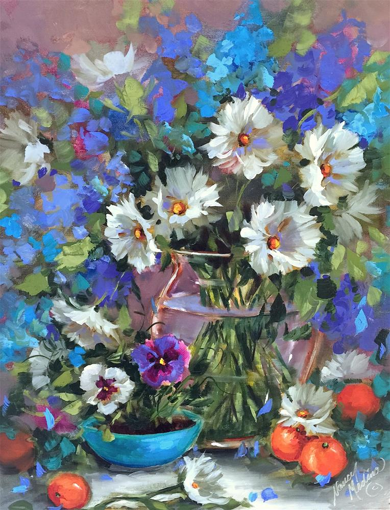 """Countdown to Online Color! Don't Be Blue Daisies - Nancy Medina Art"" original fine art by Nancy Medina"