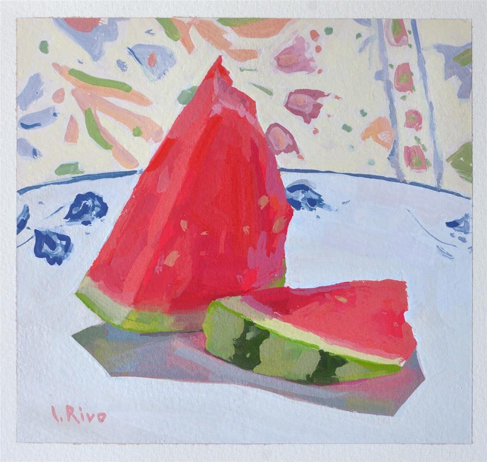 """Watermelon and favorite tablecloth"" original fine art by Lena  Rivo"