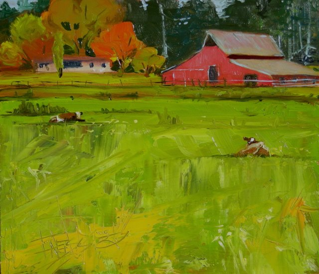"""Red Barn   oil landscape painting"" original fine art by Robin Weiss"