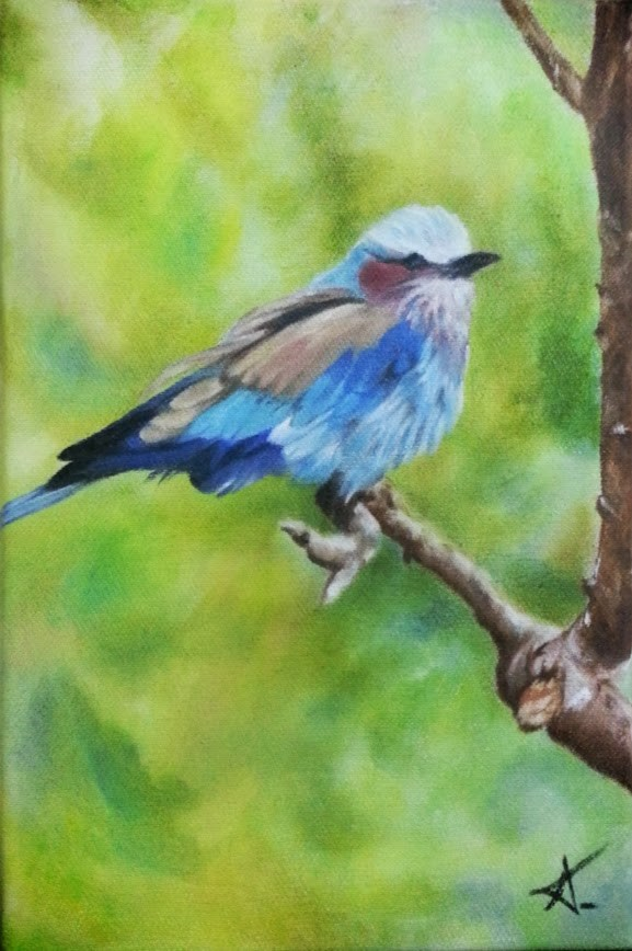 """Bird in green"" original fine art by Konstantia Karletsa"