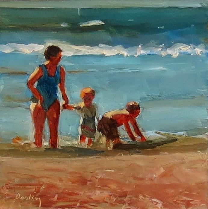 """""""Mom's Family Beach Time"""" original fine art by Nancy Darling"""