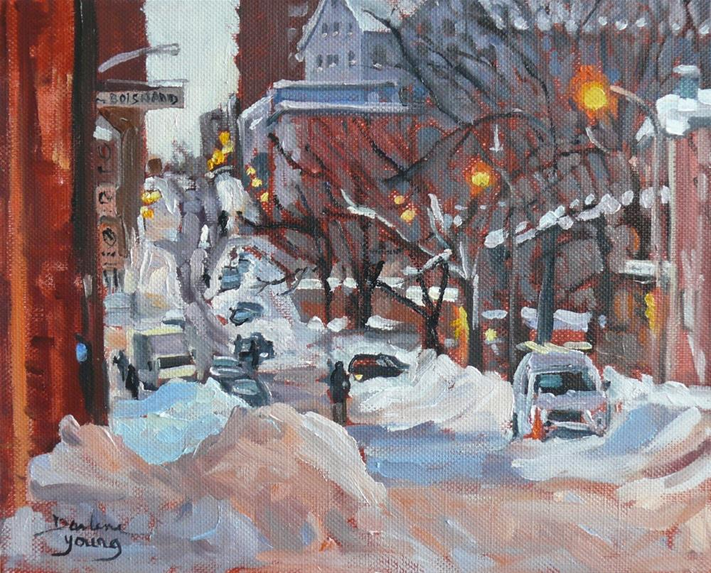 """892 Montreal Winter Scene, Rue Boisbriand"" original fine art by Darlene Young"