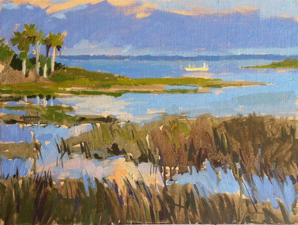 """Sunrise over the marsh at Cape San Blas"" original fine art by Haidee-Jo Summers ROI"