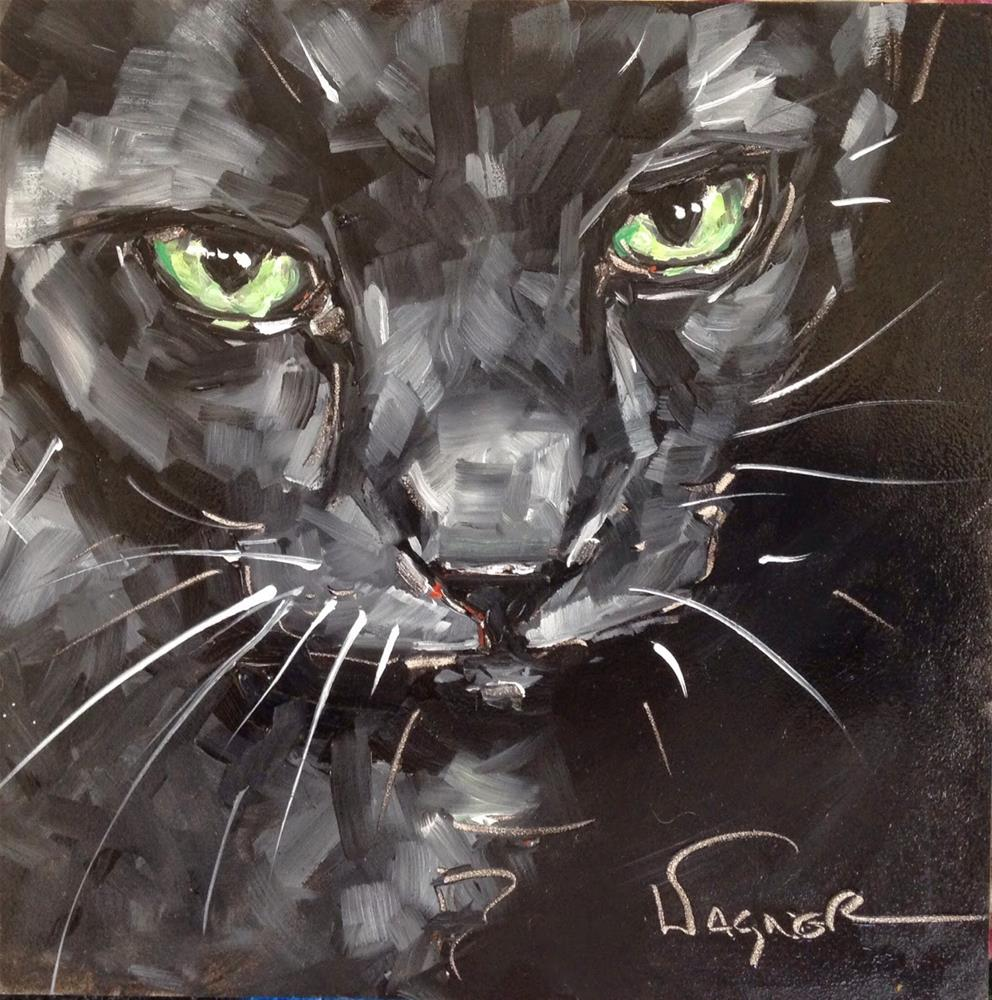 """CONTEMPORARY BLUE RUSSIAN CAT PORTRAIT in OIL by OLGA WAGNER"" original fine art by Olga Wagner"