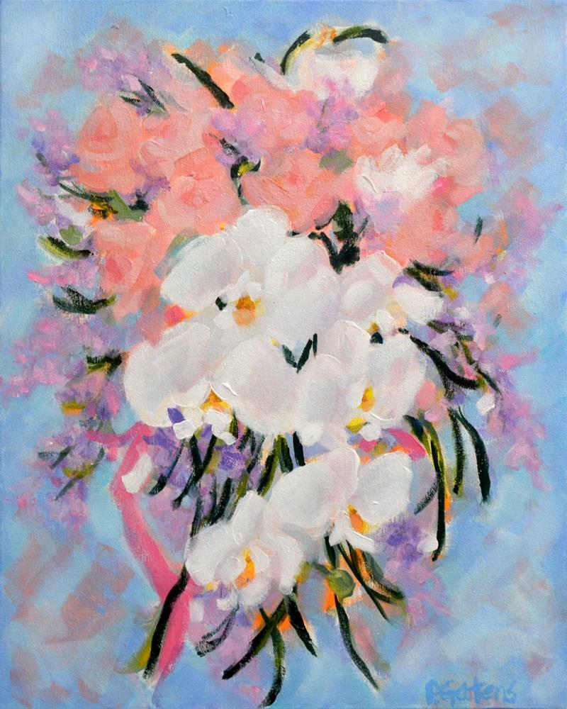 """Cascading Orchid Bridal Bouquet for Greenbrier Hotel"" original fine art by Pamela Gatens"
