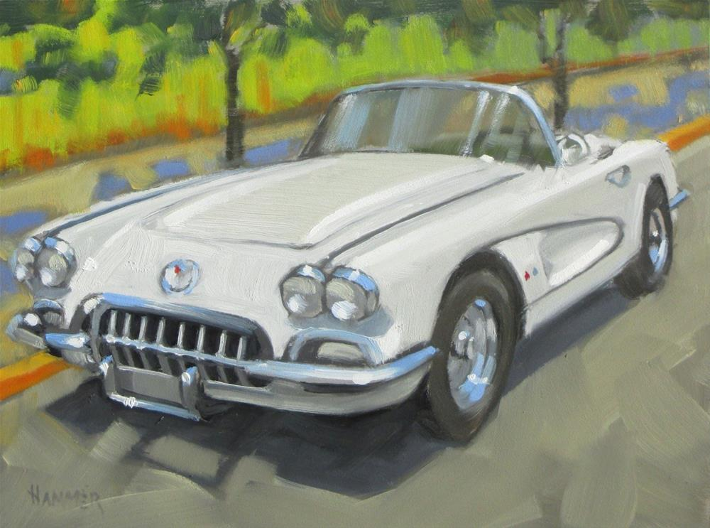 """1960 Corvette  6 x 8  oil"" original fine art by Claudia Hammer"
