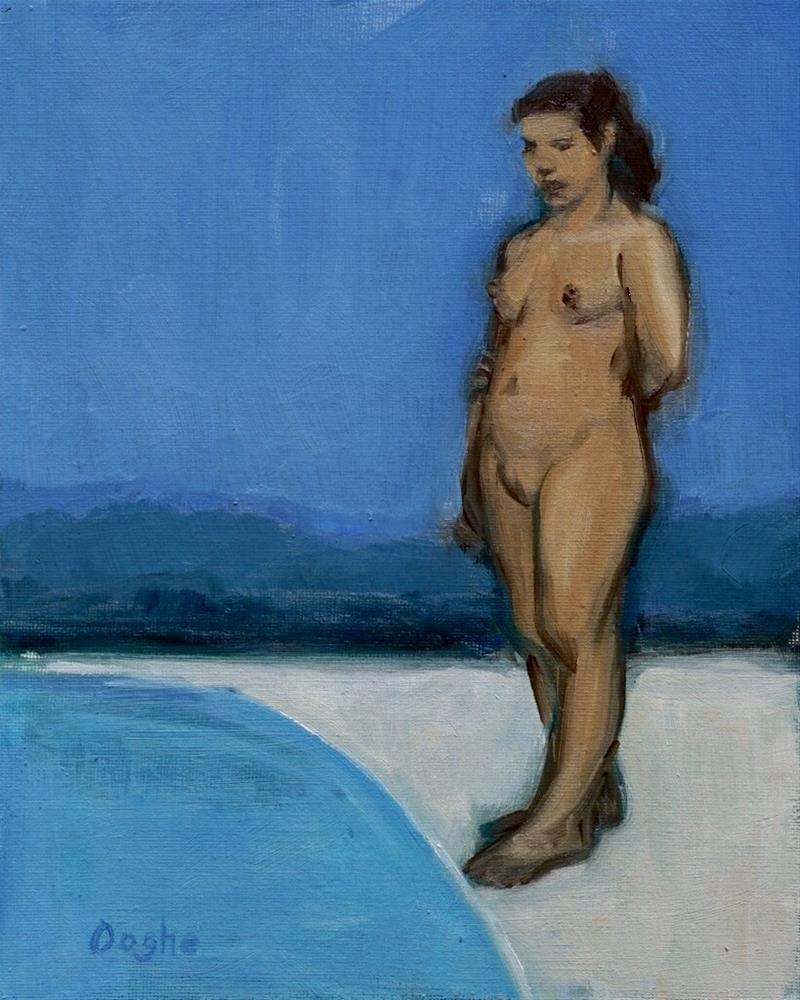 """Woman Standing Beside Pool"" original fine art by Angela Ooghe"