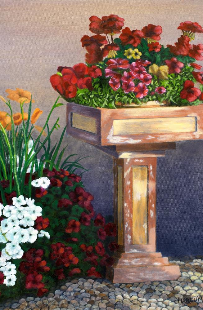 """Flower pedestal"" original fine art by John Marcum"