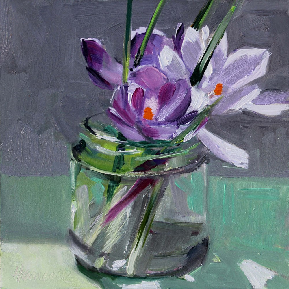 """Glass Jar and Crocuses"" original fine art by Gretchen Hancock"