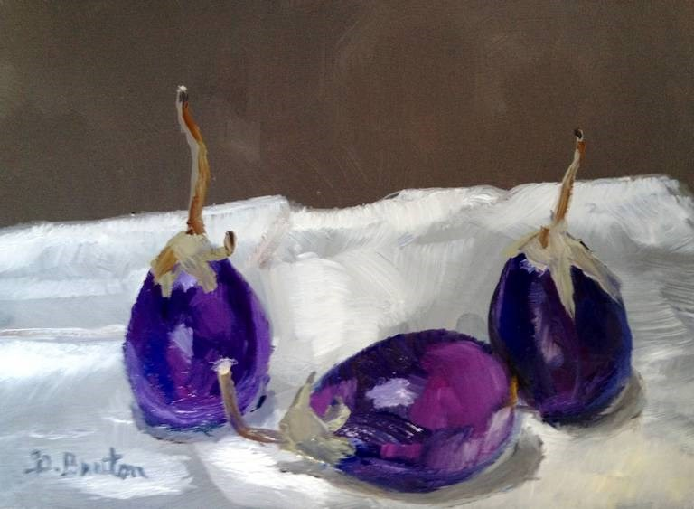 """Indian Eggplants on White Cloth"" original fine art by Gary Bruton"