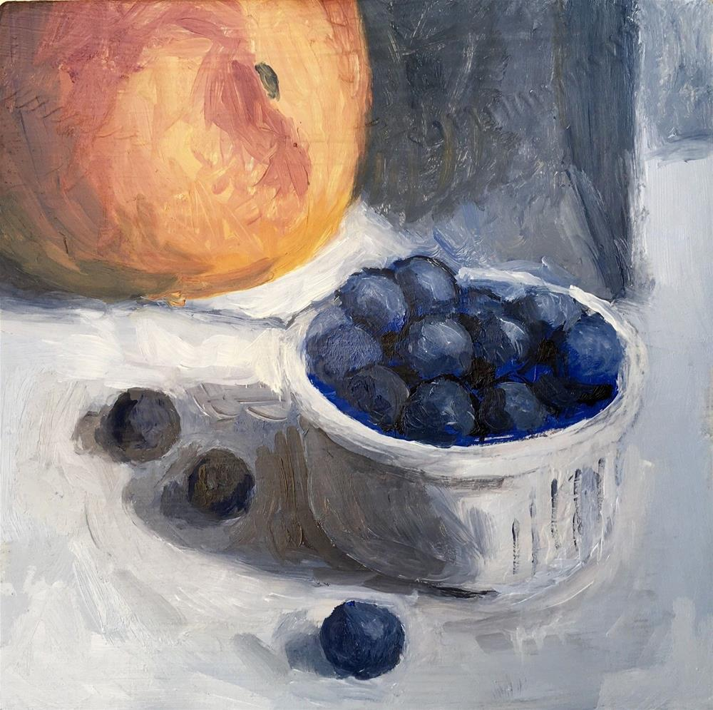 """047 Blue Berries And Peach, Daily Painting Ritual, 6x6, Free Shipping"" original fine art by Fred Bell"