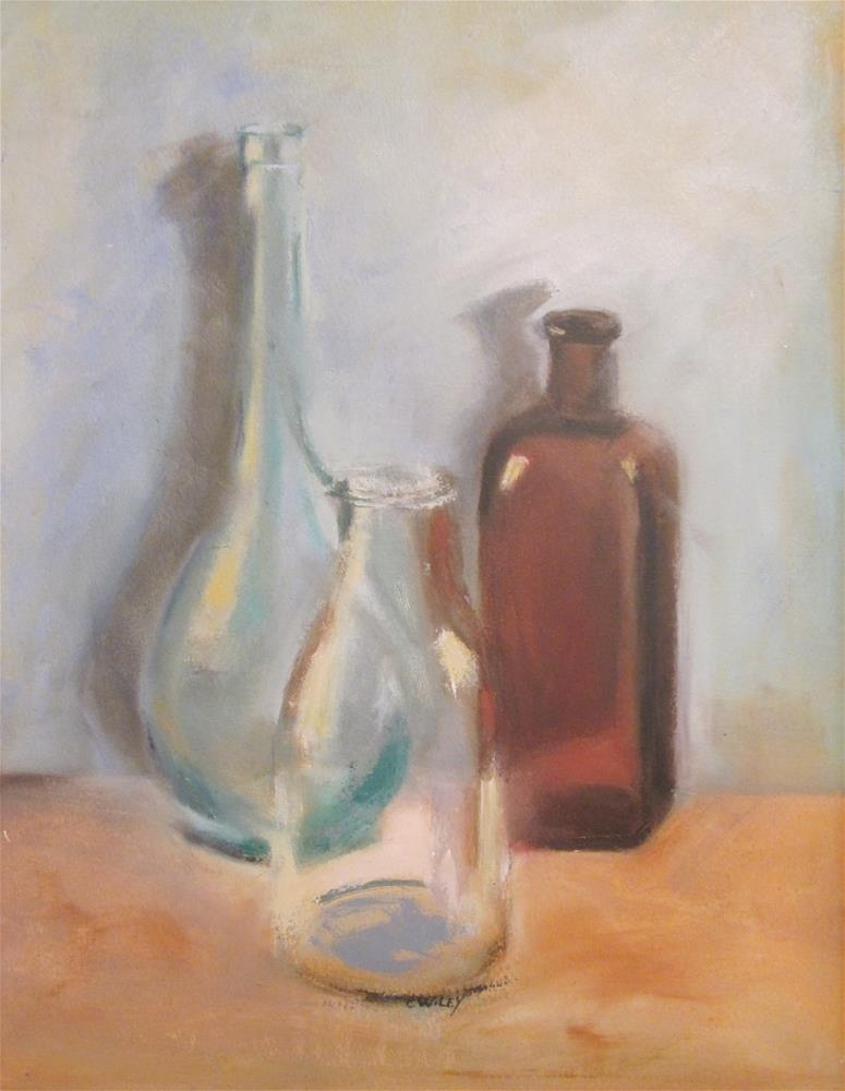 """Glass Bottles"" original fine art by Carol Wiley"