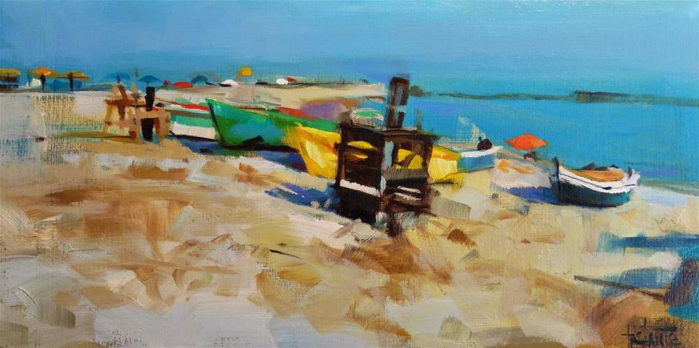 """Fishing boats"" original fine art by Víctor Tristante"