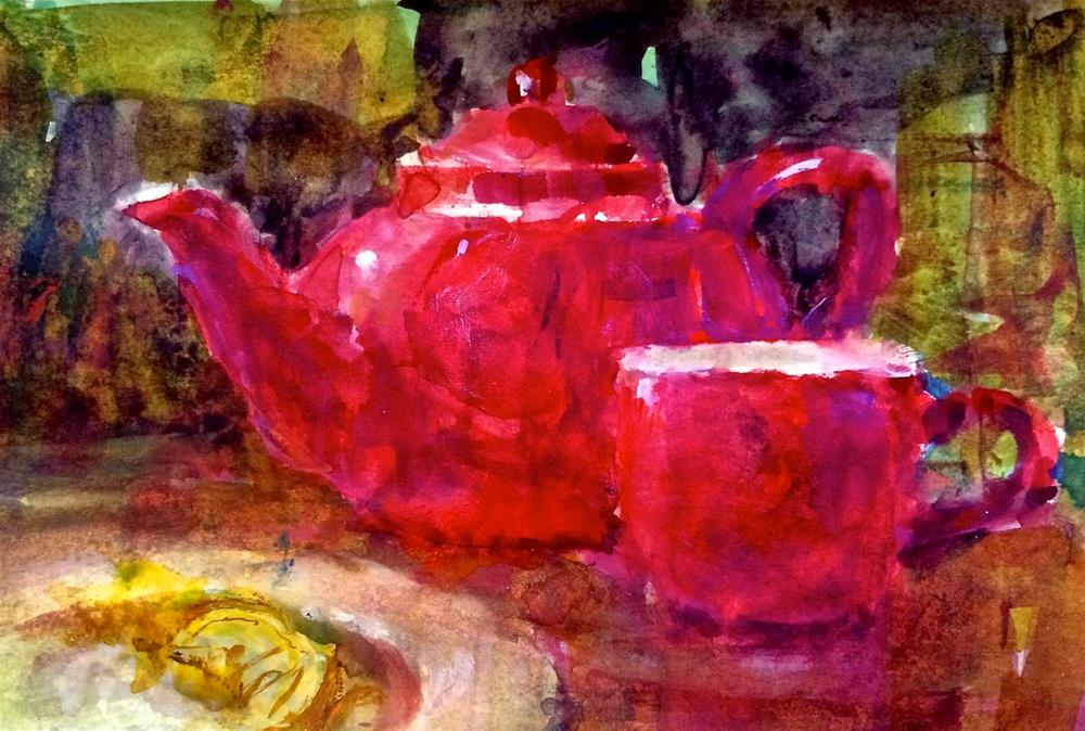 """My Red Teapot - Day 4"" original fine art by Julie Ford Oliver"