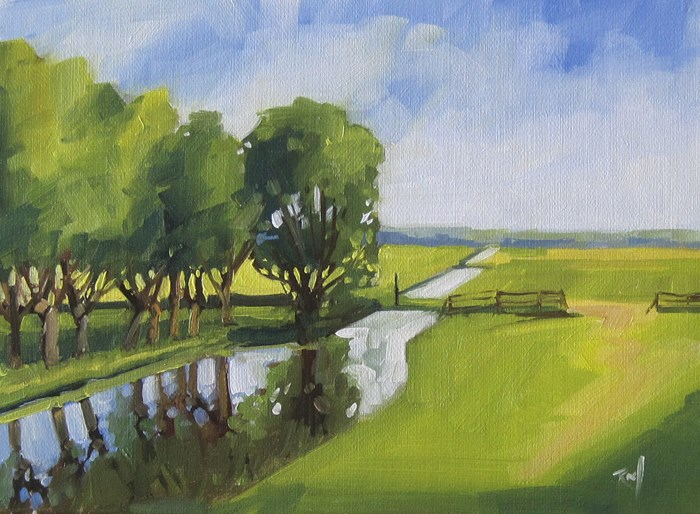 """No 805 The Green Fields"" original fine art by Robin J Mitchell"
