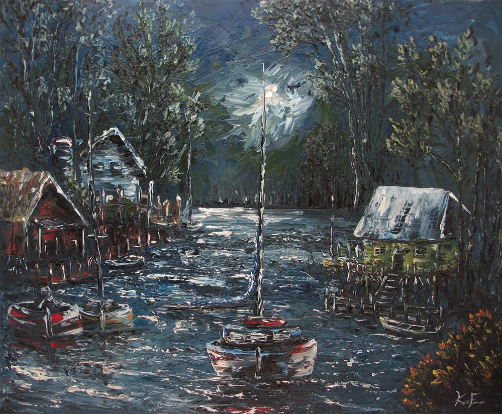 """Midnight Canal"" original fine art by Ken Fraser"