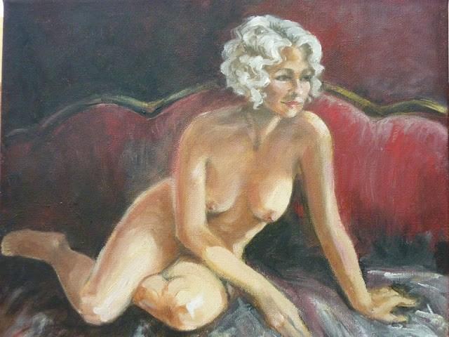 """Red Settee"" original fine art by Helene Adamson"