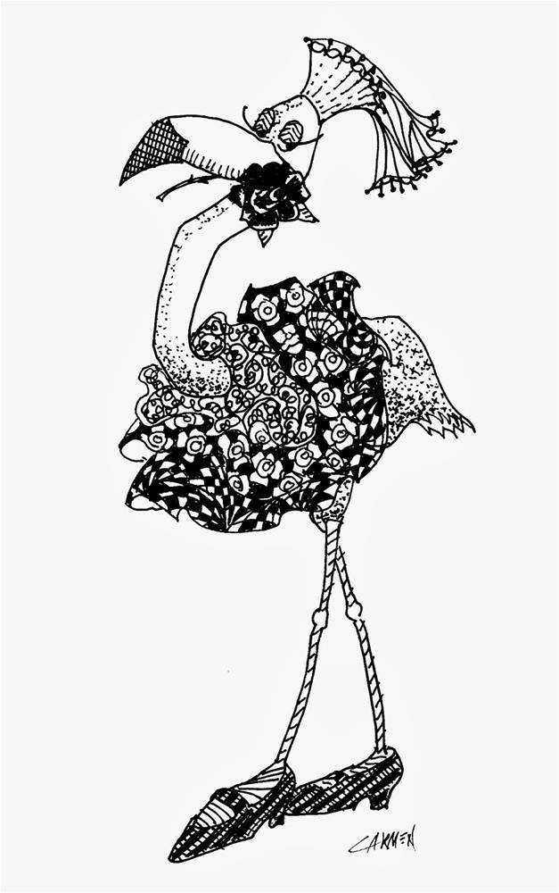 """Flamingo Dancer, 5x7 Pen and Ink Drawing"" original fine art by Carmen Beecher"