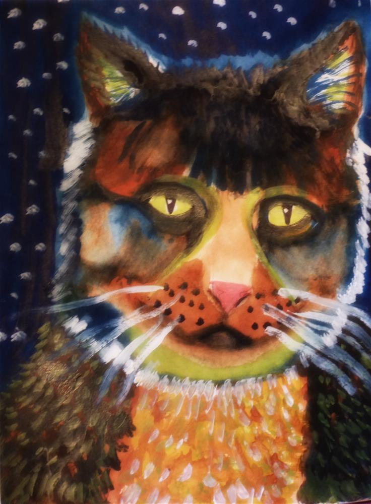 """Fat Cat Charlie is on the Midnight Prowl"" original fine art by Terri Brown-Davidson"