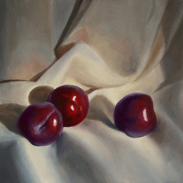 """Plums on Linen"" original fine art by Nance Danforth"