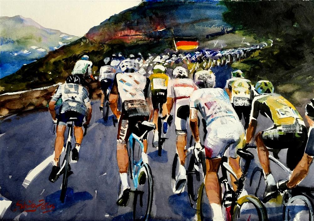 """The Rear of the Peloton"" original fine art by Shirley Peters"
