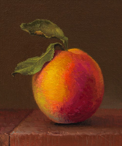 """Hand-picked Peach with Leaves"" original fine art by Abbey Ryan"