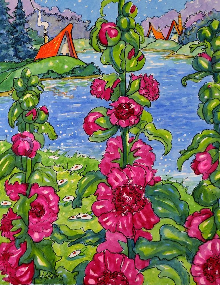"""Storybook Cottage Flowers Seaside Chater's Hollyhocks"" original fine art by Alida Akers"