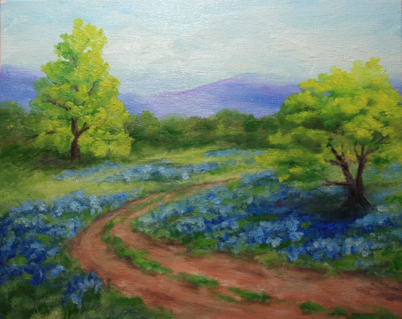 """Bluebonnets"" original fine art by Jean Nelson"