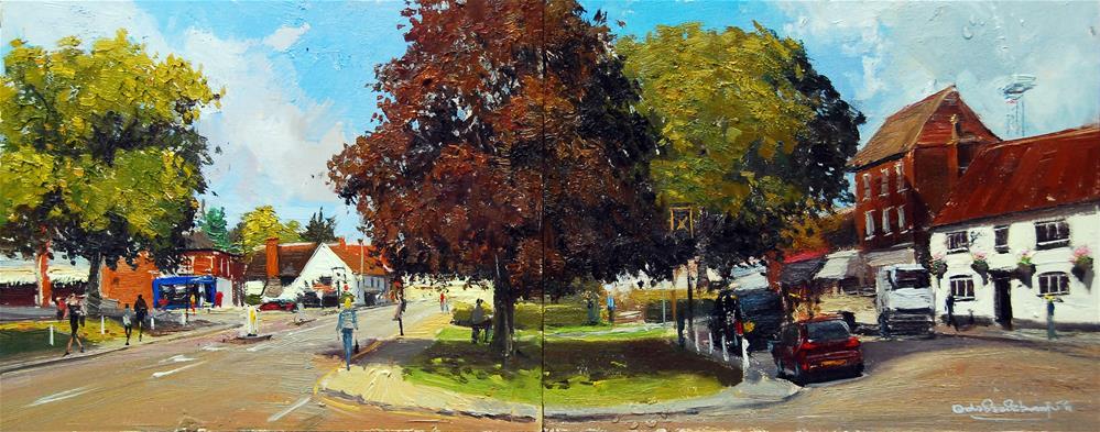 """Summer Light, The Old Cock Inn and Cross Keys, Harpenden,"" original fine art by Adebanji Alade"