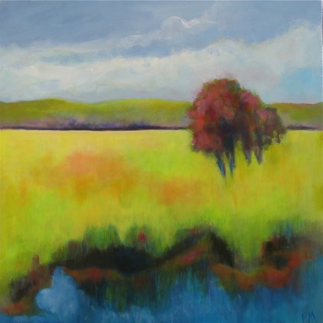"""Red Tree"" original fine art by Patricia MacDonald"