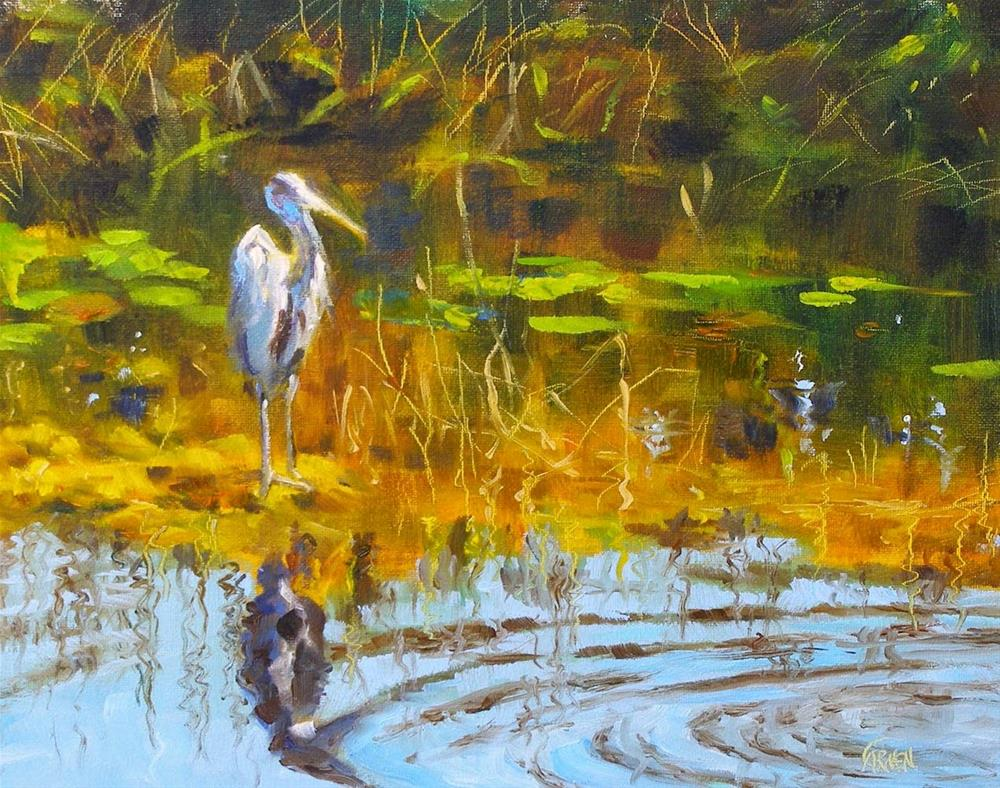 """""""Everglades Bird, 10x8 Oil on Canvas Landscape"""" original fine art by Carmen Beecher"""