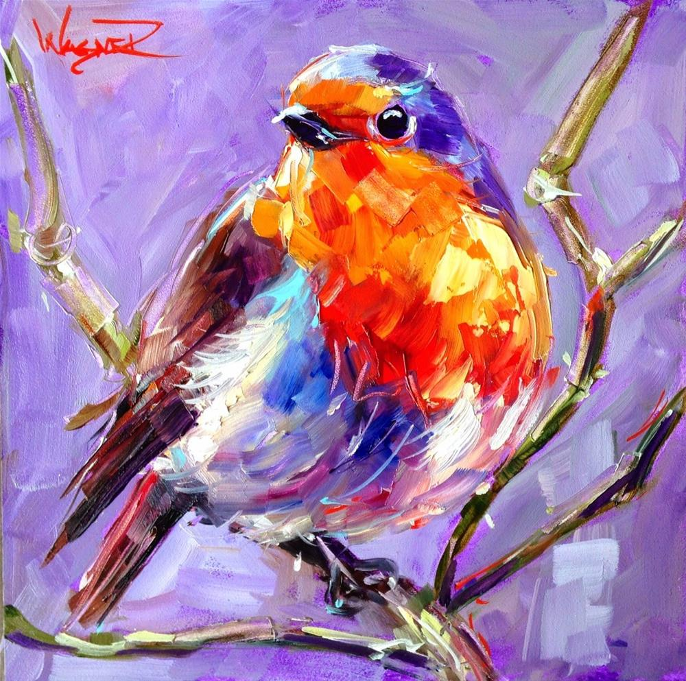 """CONTEMPORARY BIRD PAINTING BLUE BIRD by OLGA WAGNER"" original fine art by Olga Wagner"