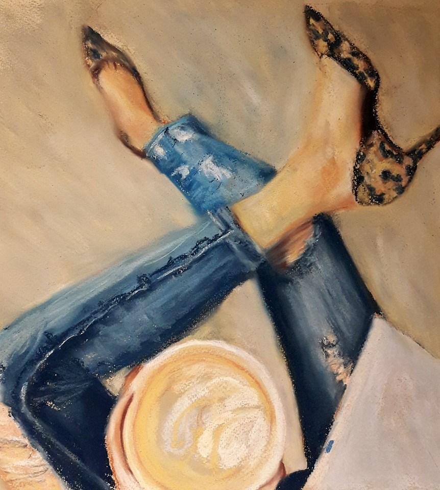 """Coffee break"" original fine art by Rentia Coetzee"