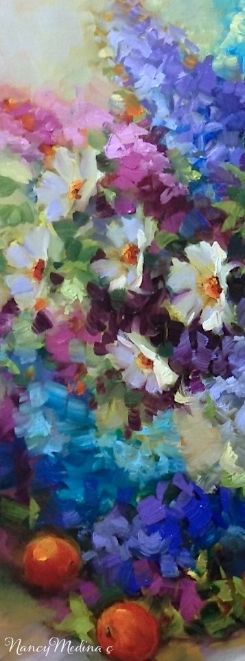 """A New E-Course Begins! Abundance Daisies and Delphs"" original fine art by Nancy Medina"