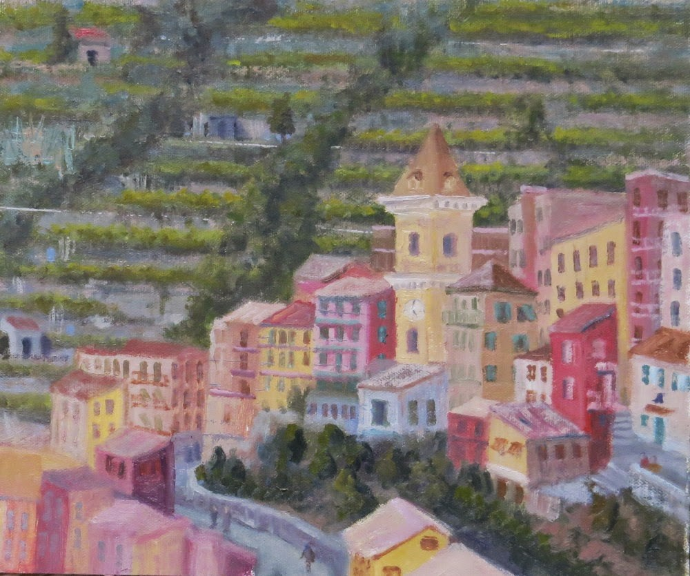 """Manarola Bell Tower"" original fine art by Richard Kiehn"
