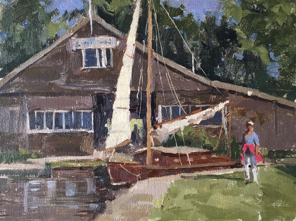 """Hunters boatyard demo"" original fine art by Haidee-Jo Summers ROI"